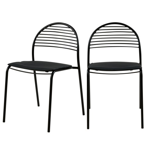 Chaise en métal noir Elite (lot de 2)