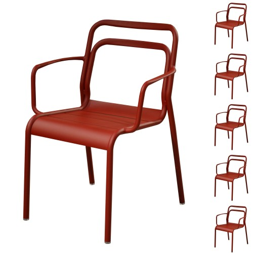 Fauteuil empilable Eos rouge (lot de 6)