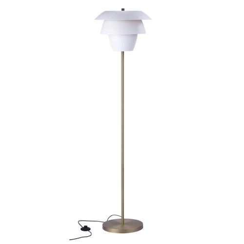 achat lampadaire blanc pied metal dore