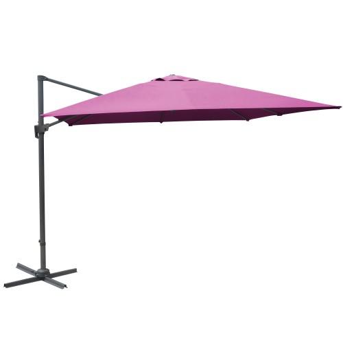 Parasol framboise déporté inclinable manivelle 3x3m