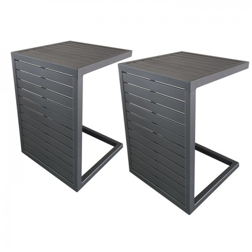 achat table basse grise 2 positions lot de 2