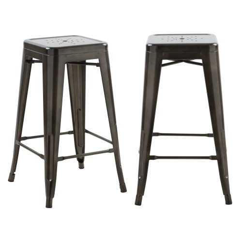 Tabouret de bar mi-hauteur Indus gris anthracite brillant 66cm (lot de 2)