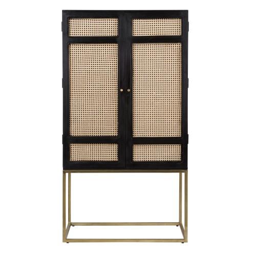 acheter armoire en bois noir et cannage