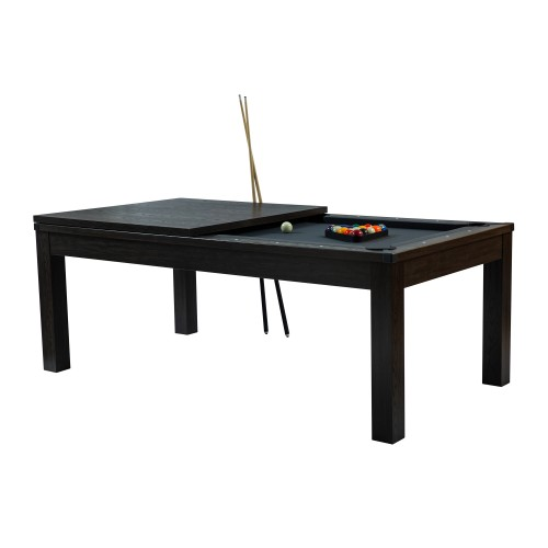 Table de Billard rectangulaire convertible bois foncé tapis gris