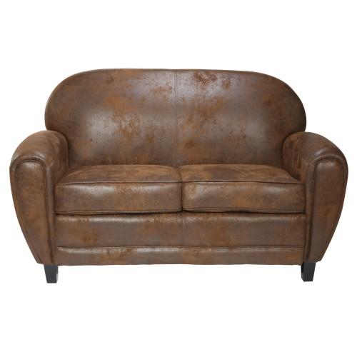 acheter canapé club 2 places marron cuir