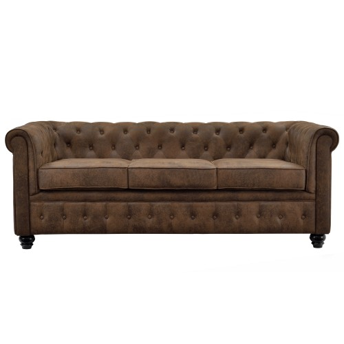 Canapé Chesterfield 3 places marron vieilli