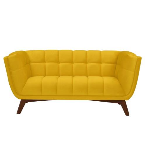 acheter canape 2 places jaune velours pieds bois