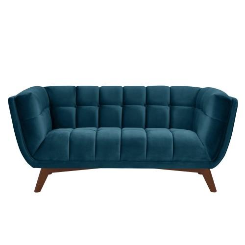 Canapé Mona 2 places en velours bleu foncé