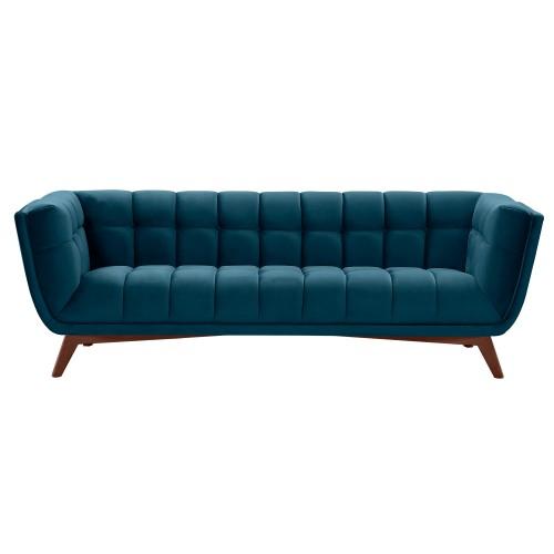 Canapé Mona 3 places en velours bleu foncé