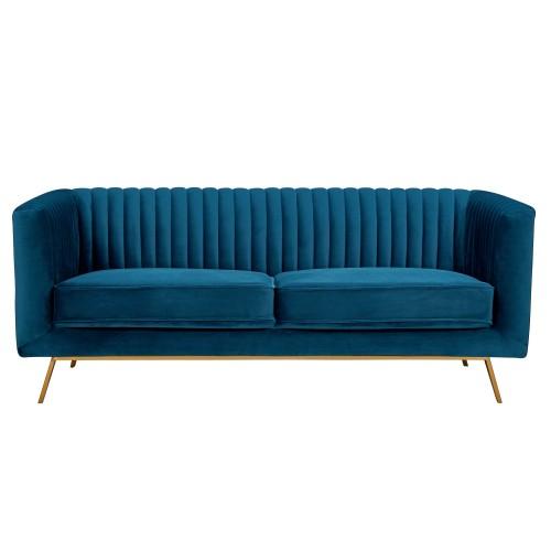 Canapé Gatsby 2 places en velours bleu foncé