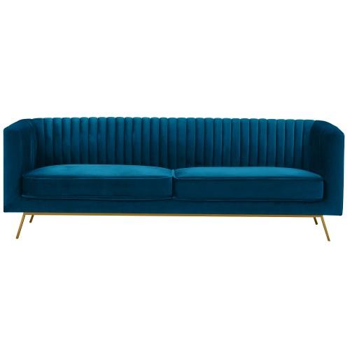 Canapé Gatsby 3 places en velours bleu foncé
