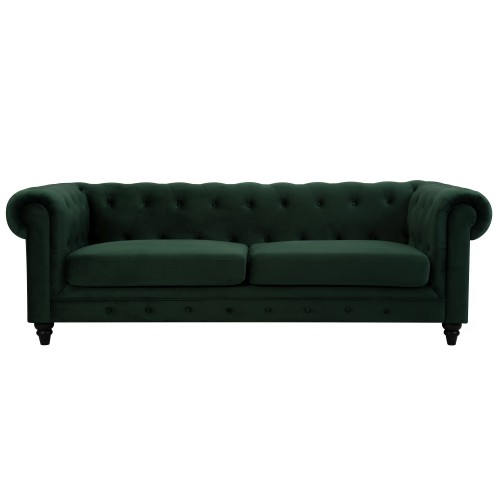 Canapé Chesterfield 3 places en velours vert