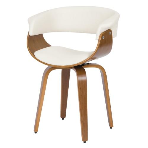 acheter chaise blanche en cuir synthetique et bois