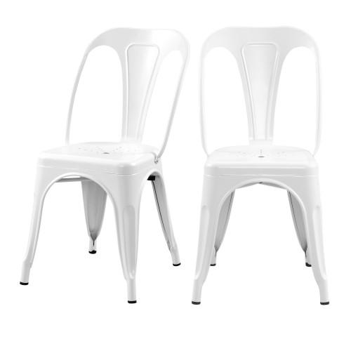 acheter chaise blanche en metal industriel lot de 2