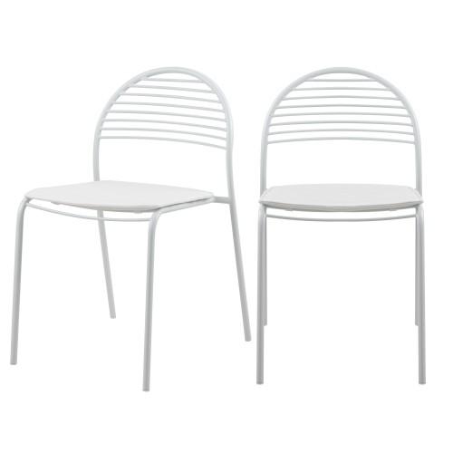 Chaise en métal blanc Elite (lot de 2)