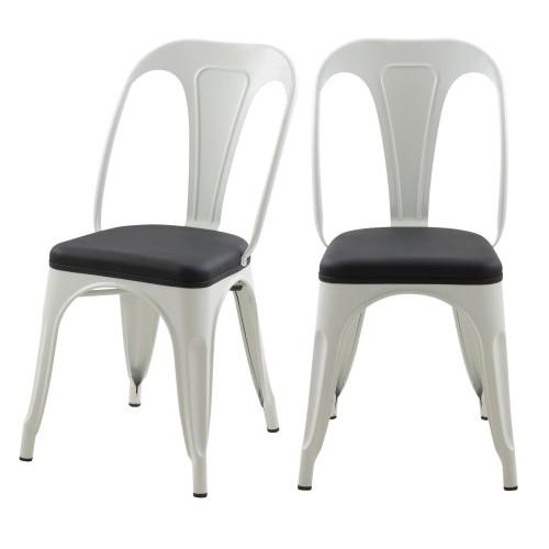 Chaise indus Charly blanche et noire (lot de 2)