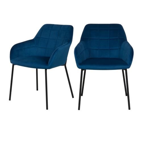 Chaise Romy en velours bleu foncé (lot de 2)
