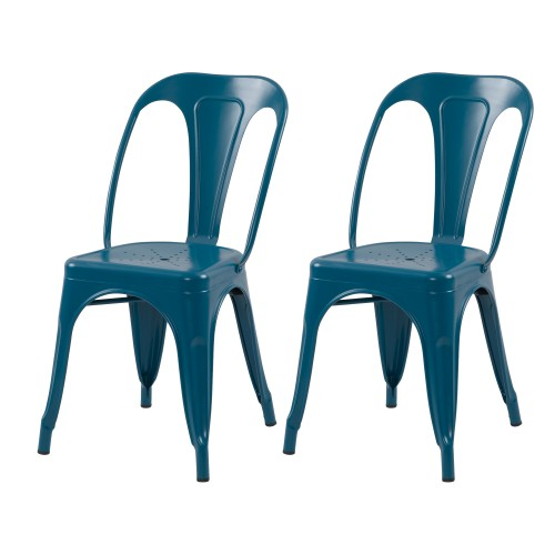 acheter chaise bleue lot de 2 industrielle