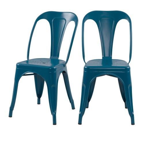 acheter chaise bleue metal industrielle lot de deux