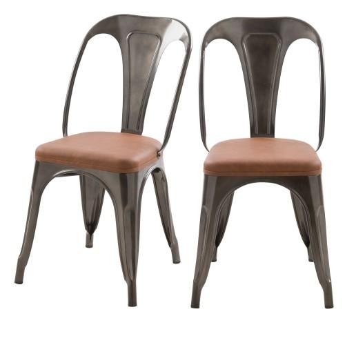 Chaise indus Charly grise et marron (lot de 2)