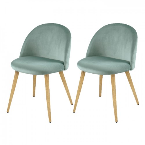 Chaise Cozy en velours vert d'eau (lot de 2)