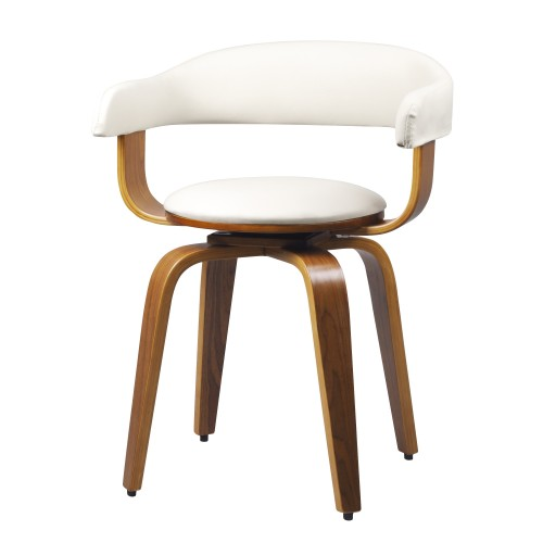 Chaise blanche Harold avec accoudoirs
