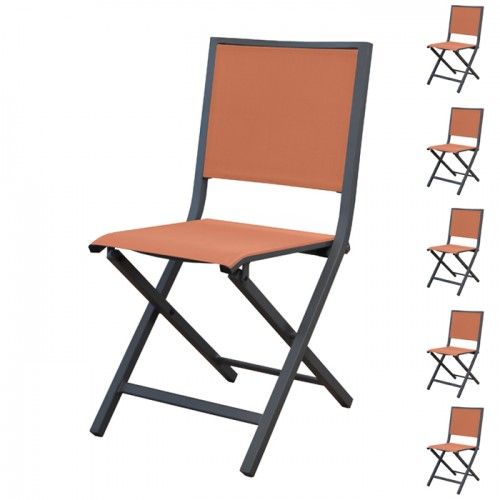 Chaise pliante Ida orange/gris (lot de 6)