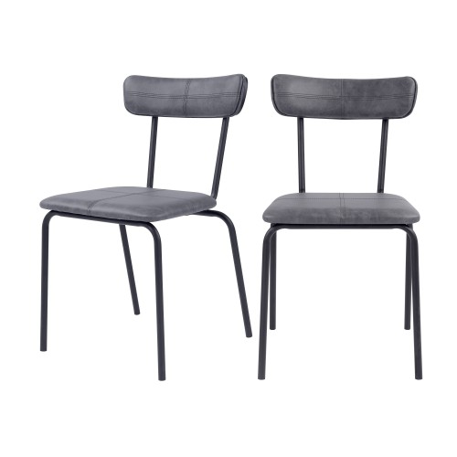Chaise Jayne gris anthracite (lot de 2)