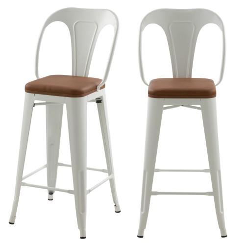 Chaises de bar mi-hauteur Charly blanches et marron 66cm (lot de 2)