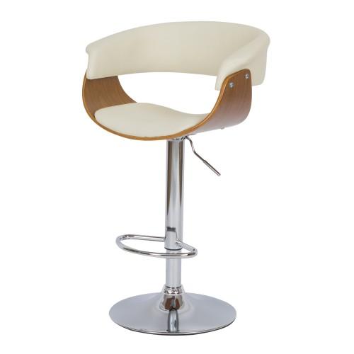 Chaise de bar blanche Basile avec accoudoirs 55.5/81 cm