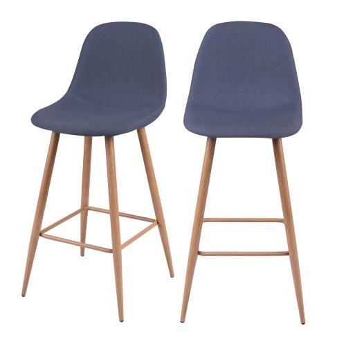 acheter chaise de bar bleu gris tissu design