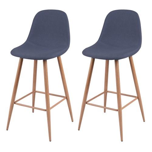 acheter chaise de bar bleu gris tissu