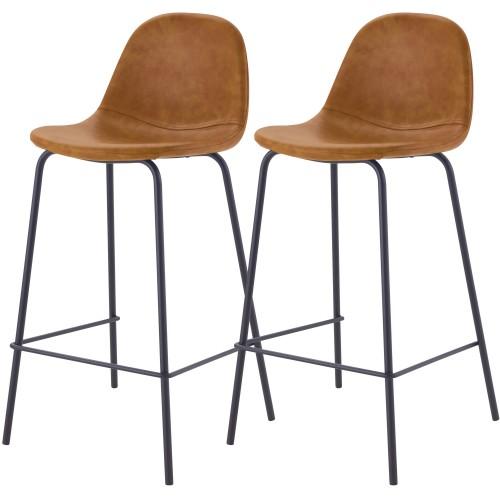acheter chaise de bar camel en cuir synhetique