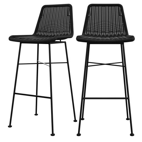 Chaise de bar Mandya noire 76 cm (lot de 2)
