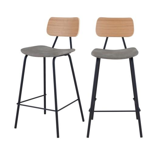 acheter chaise de bar en bois et tissu lot de deux