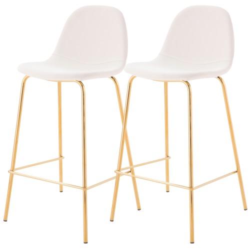 Chaise de bar mi-hauteur Henrik blanche 65 cm (lot de 2)