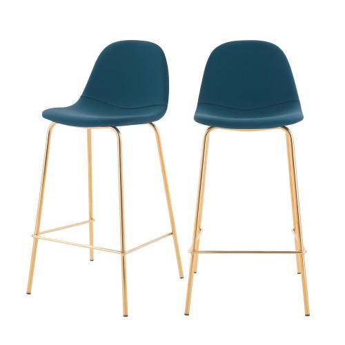 acheter chaise de bar en cuir synthetique bleue pieds dores lot de 2