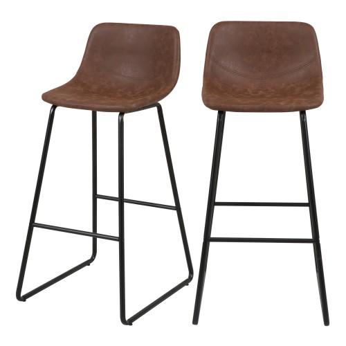 Chaise de bar marron Clay 76 cm (lot de 2)