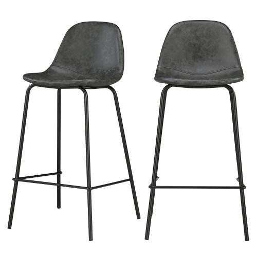 acheter chaise de bar en cuir synthetique noire lot de 2