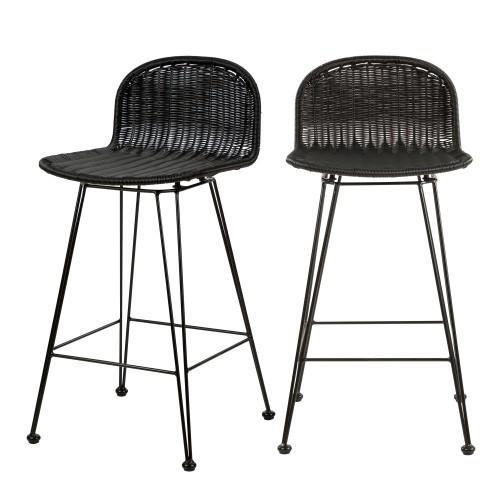 acheter chaise de bar en resine tressee noire lot de 2