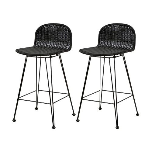 acheter chaise de bar en resine tressee noire