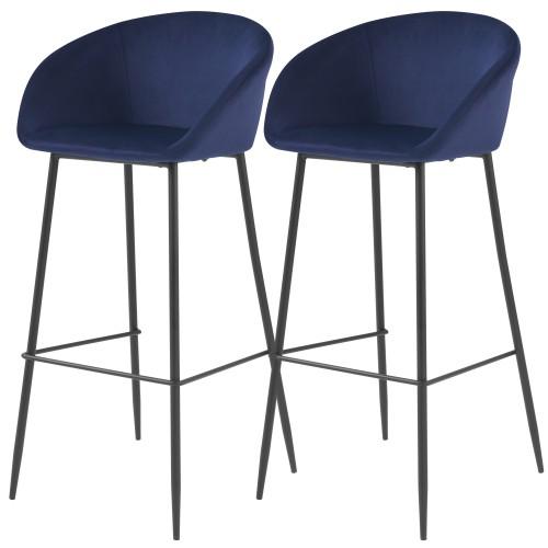 acheter chaise de bar en velours bleue pieds metal