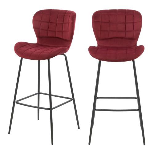 Chaise de bar Mazzia en velours bordeaux 75 cm (lot de 2)