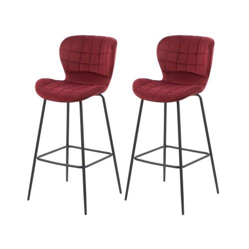 acheter chaise de bar en velours bordeaux