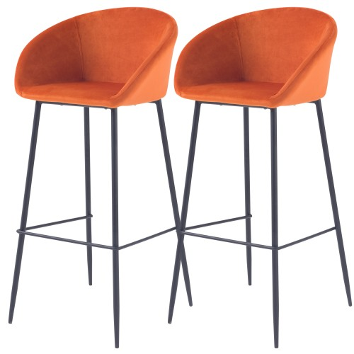 acheter chaise de bar en velours orange pieds metal