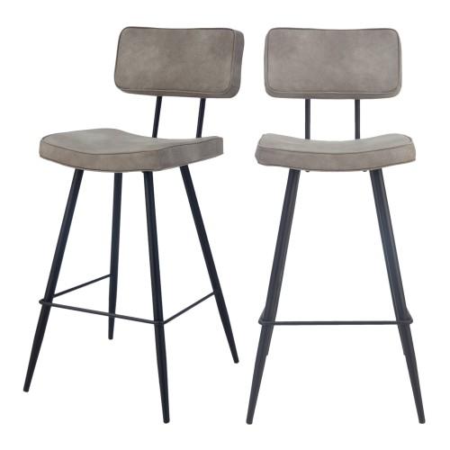 acheter chaise de bar grise cuir simili lot de 2