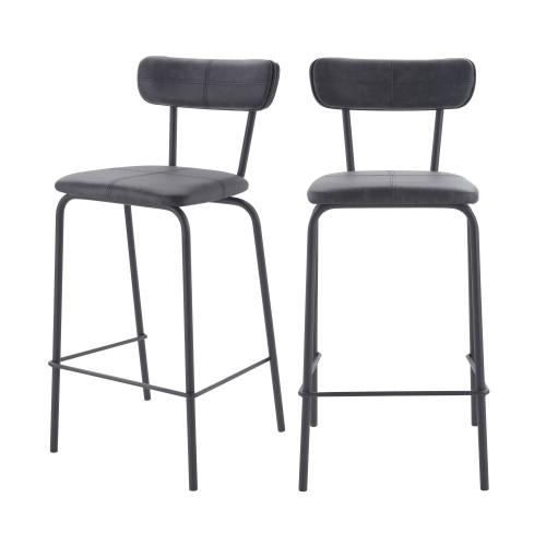 acheter chaise de bar grise fonce cuir synthetique lot de deux