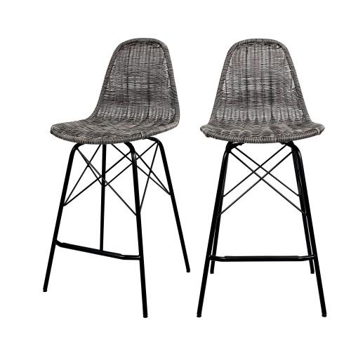 Chaise de bar mi-hauteur Tiptur en résine tressée grise 63 cm (lot de 2)