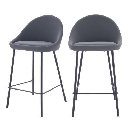acheter chaise de bar grises avec dossier lot de 2