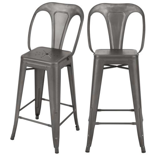 Chaise de bar mi-hauteur Indus gris acier 66 cm (lot de 2)